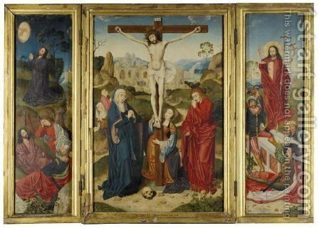 A Triptych Representing The Crucifixion, Flanked By The Agony In The Garden And The Resurrection, With Scenes From The Passion Beyond by Barthel Bruyn - Reproduction Oil Painting