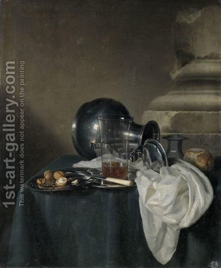 A Still Life With A Pewter Jug On Its Side, A Glass Of Beer And Walnuts On Pewter Dishes by Simon Luttichuys - Reproduction Oil Painting
