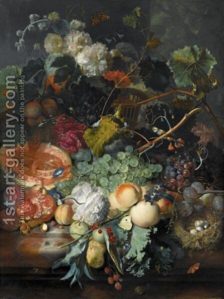 Still Life Of Fruit Upon A Marble Ledge, A Bird's Nest To The Right And A Basket Of Flowers Above, Insects Throughout by Jan Van Huysum - Reproduction Oil Painting