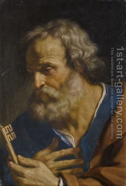 Saint Peter by Giovanni Francesco Guercino (BARBIERI) - Reproduction Oil Painting