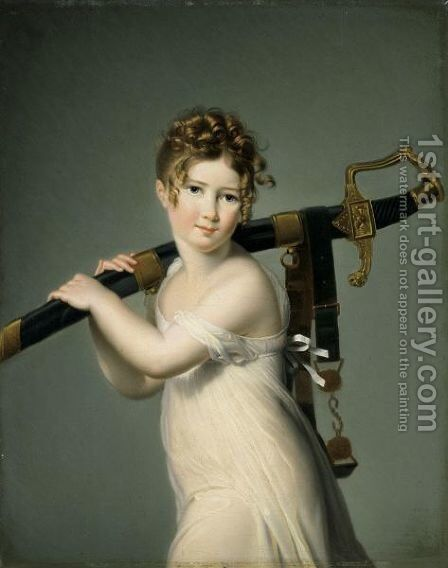 A Young Girl Carrying Her Father's Sabre by Jeanne-Elisabeth Chaudet - Reproduction Oil Painting
