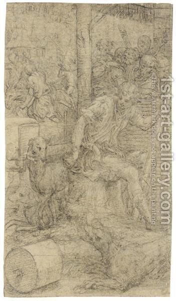 A Young Shepherd Seated On A Tree Trunk, Three Dogs Beside Him, Figures Beyond And Houses In The Background by Giulio Campi - Reproduction Oil Painting