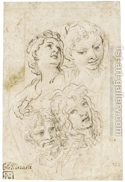 Study Of Four Heads And A Hand by Carlo Maratta or Maratti - Reproduction Oil Painting