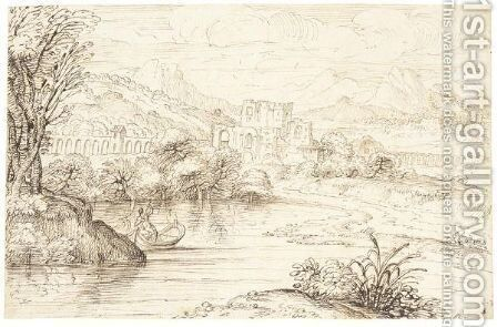 River Landscape With A Boatman And Ruined Castle by Giovanni Francesco Grimaldi - Reproduction Oil Painting