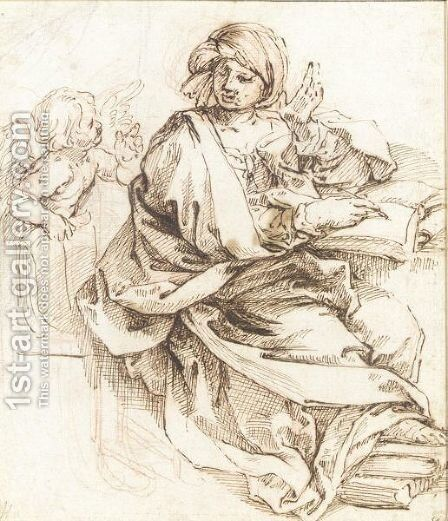 A Sibyl Writing, A Putto To The Left by Guido Reni - Reproduction Oil Painting