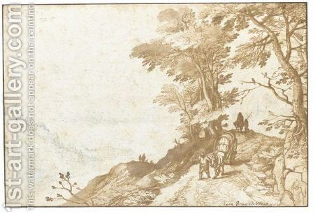 Extensive Landscape With A Peasant Leading A Waggon Between Trees To The Right by Jan The Elder Brueghel - Reproduction Oil Painting