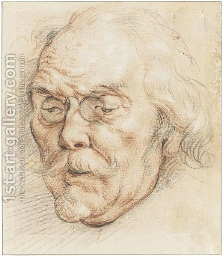 Head Of An Elderly Man (Adam Van Noort) by Jacob Jordaens - Reproduction Oil Painting