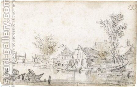 Houses By A Riverbank With Trees, With A Man In A Rowing-Boat In The Foreground by Jan van Goyen - Reproduction Oil Painting