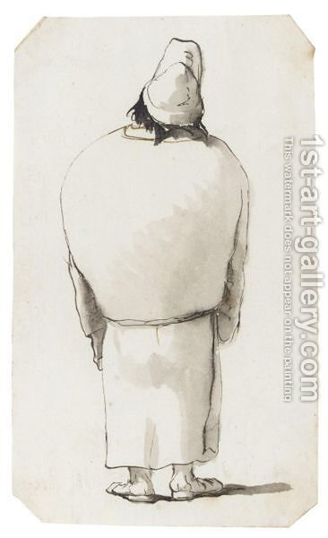 Caricature Of A Man, Seen From Behind, Wearing Robes And A Cap by Giovanni Battista Tiepolo - Reproduction Oil Painting