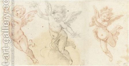 Three Studies Of Flying Putti by (after) Fabrizio Boschi - Reproduction Oil Painting