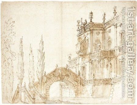 View Of A Fantastical Villa With A Moat And Hump-Back Bridge by (after) Ferdinando Galli Bibiena - Reproduction Oil Painting