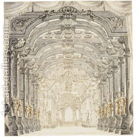 Two Elaborate Stage Designs by Giuseppe Galli Bibiena - Reproduction Oil Painting