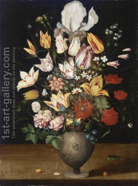 A Still Life With Parrot Tulips, Roses, Irises, And Various Other Flowers In A Vase On A Table Ledge by Antwerp School - Reproduction Oil Painting