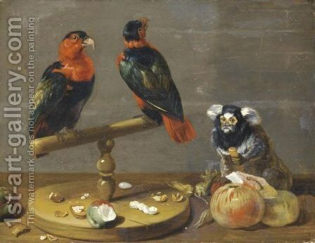 A Still Life With Two Parrots, A Marmoset, Apples, And A Variety Of Nuts On A Table by (after) Frans Snyders - Reproduction Oil Painting