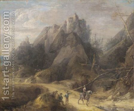 A Mountainous Wooded Landscape With A Cavalier And Other Figures In The Foreground by (after)  David The Younger Teniers - Reproduction Oil Painting