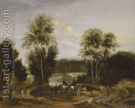 A Wooded Landscape With An Elegant Hunting Party Beside A Lake by (after) Lucas Achtschellinck - Reproduction Oil Painting