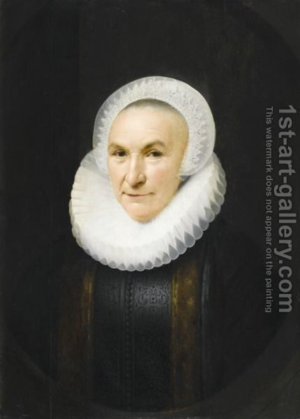 Portrait Of A Lady, Half Length, Wearing A Black Dress Fringed With Fur, A Ruff And An Elaborate Lace Headdress by (after) Anthony Van Ravesteyn - Reproduction Oil Painting