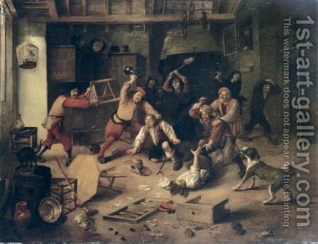 Peasants Brawling In A Tavern Interior by Abraham Diepraam - Reproduction Oil Painting