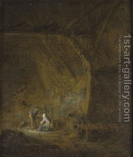 A Barn Interior With Two Peasants Conversing by (after) Adriaen Jansz. Van Ostade - Reproduction Oil Painting