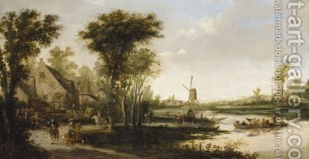 A River Landscape With Cattle And Drovers Being Ferried Across A River, A Windmill Beyond by (after)  Jan Van Goyen - Reproduction Oil Painting