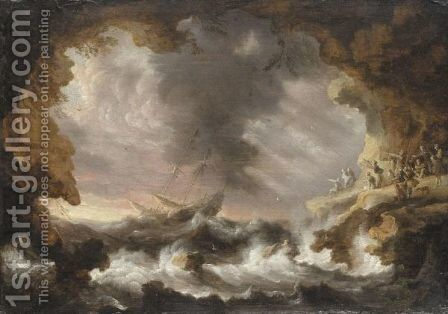 A Storm At Sea by Bonaventura, the Elder Peeters - Reproduction Oil Painting