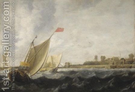 A River Scene With Dutch Smalschips by Bonaventura, the Elder Peeters - Reproduction Oil Painting