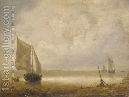 A Smalschip And A Rowing Boat With Fishermen In A Calm, Further Smalschips Beyond by (after) Hieronymus Van Diest - Reproduction Oil Painting