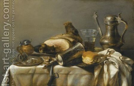 A Still Life With A Leg Of Ham Upon A Pewter Plate, A Pewter Kanne And A Roemer, An Overturned Beaker Resting On A Pewter Plate With Bread, A Mustard Pot And A Broken Roemer Upon Another Plate, All Upon A Table Partially Draped With A White Cloth by (after) Pieter Claesz - Reproduction Oil Painting