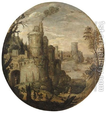 A Mountainous Landscape With A Castle And A Harbour by Italian School - Reproduction Oil Painting