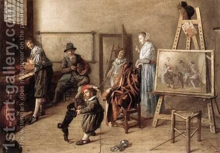 Painter in His Studio, Painting a Musical Company 1631 by Jan Miense Molenaer - Reproduction Oil Painting