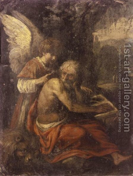 Saint Jerome In The Wilderness, Instructed By An Angel by (after) Carlo Saraceni - Reproduction Oil Painting