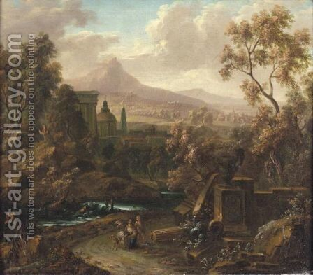 A Classical River Landscape With Two Travellers Resting With Their Dog Beside Ruins by Johann Christoph Turner - Reproduction Oil Painting