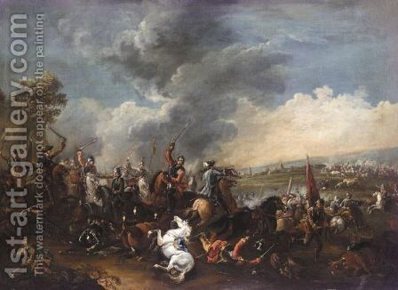 A Cavalry Engagement by (after) Francesco Simonini - Reproduction Oil Painting