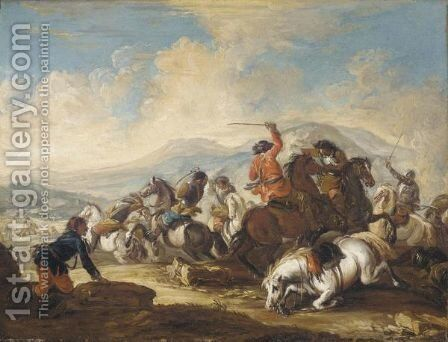 A Battle Scene In A Mountainous Landscape by (after) Francesco Simonini - Reproduction Oil Painting
