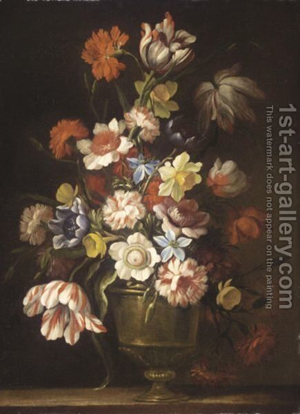 A Still Life With Tulips, Carnations, Daffodils And Various Other Flowers In A Bronze Urn On A Ledge by (after) Giovanni Stanchi - Reproduction Oil Painting