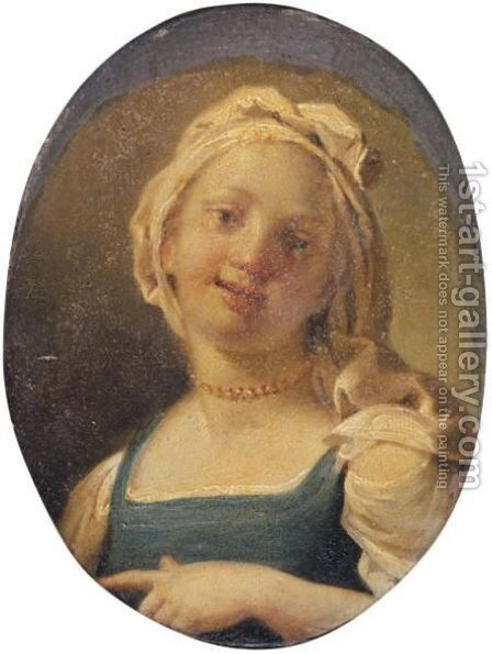 A Young Girl Wearing A Coral Necklace by Neapolitan School - Reproduction Oil Painting