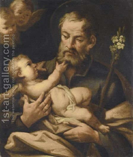 Saint Joseph With The Christ Child by (after) Francesco De Mura - Reproduction Oil Painting