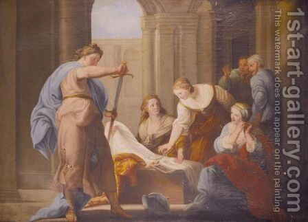 Achilles And The Daughters Of Lycomedes by (after) Pompeo Gerolamo Batoni - Reproduction Oil Painting