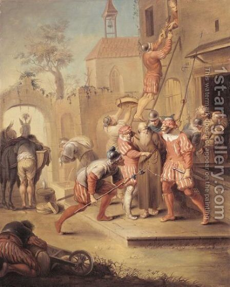 Soldiers Pillaging A Monastery by (after) Januarius Zick - Reproduction Oil Painting