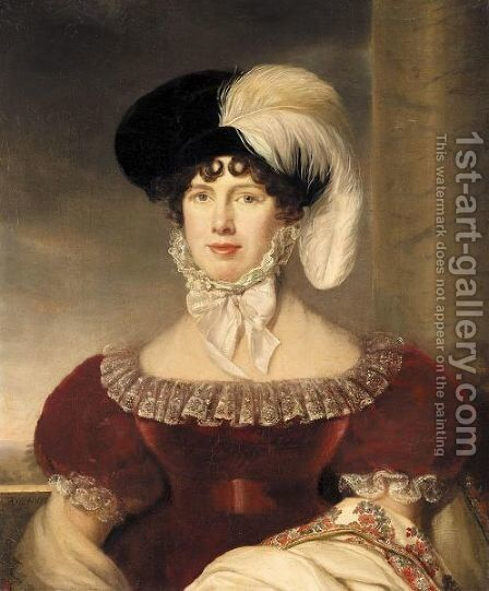 Portrait Of A Lady, Half-Length, Wearing A Red Velvet Dress And A Black Hat With A White Plume by Henri-Francois Riesener - Reproduction Oil Painting