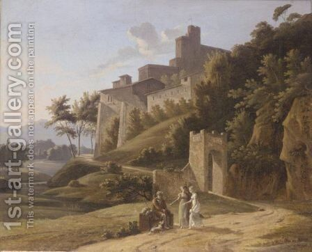 An Italianate Landscape With Two Young Ladies Giving Alms To An Old Man by (after) Alexandre-Hyacinthe Dunouy - Reproduction Oil Painting