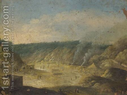 Naples, A View Of The Solfatara Near Pozzuoli by (after) Orazio Grevenbroeck - Reproduction Oil Painting