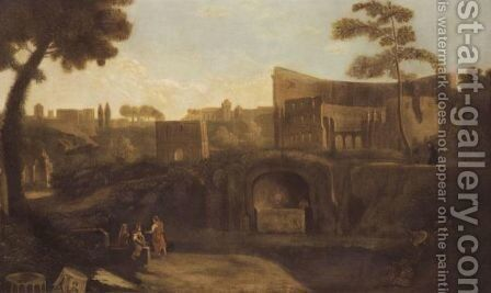 Rome, A View Of The Colosseum With The Forum Beyond by (after) Jan Frans Van Orizzonte (see Bloemen) - Reproduction Oil Painting