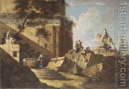 An Architectural Capriccio With Figures Amongst Ruins by (after) Marco Ricci - Reproduction Oil Painting