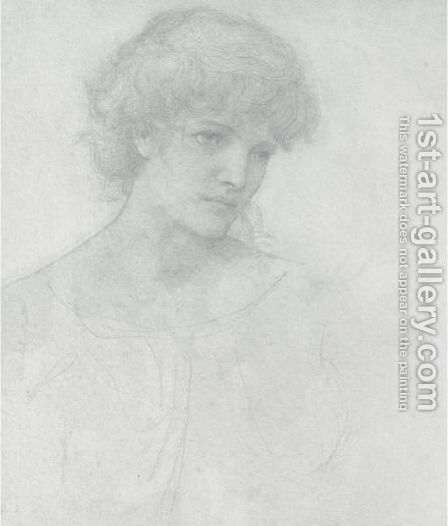 Study Of A Girl's Head 2 by Sir Edward Coley Burne-Jones - Reproduction Oil Painting