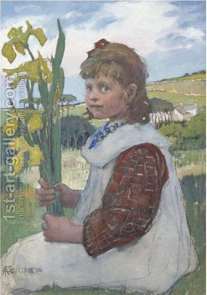 Girl With Irises by Elizabeth Stanhope Forbes - Reproduction Oil Painting