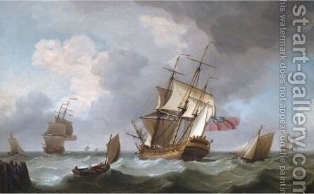 A British Man Of War And Other Vessels In A Heavy Sea Leaving Harbour by Charles Brooking - Reproduction Oil Painting