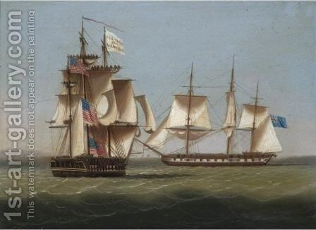 The H.M.S. Shannon And The U.S.S. Chesapeake by (after) Thomas Buttersworth - Reproduction Oil Painting