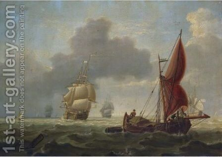 Barges And Other Shipping At Sea by Charles Martin Powell - Reproduction Oil Painting