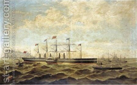 The Steamship The Great Eastern Off Gibraltar by Adolfo Giraldez Y Penalver - Reproduction Oil Painting